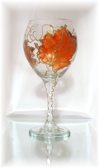 Autumn Leaves Gold 20 Ounce Balloon Wine Goblet