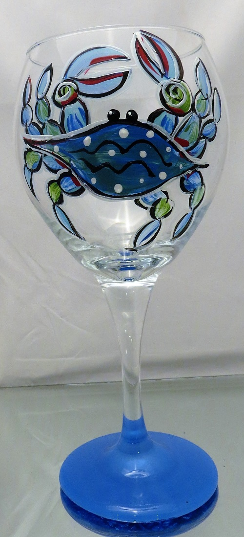 Crabby Fun on 20 ounce balloon wine glass
