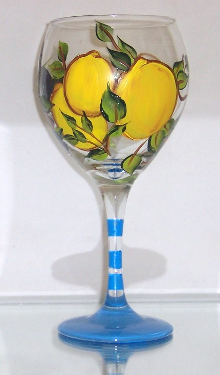 Tuscany Lemon and Olive on 20 Ounce Balloon Wine Glass