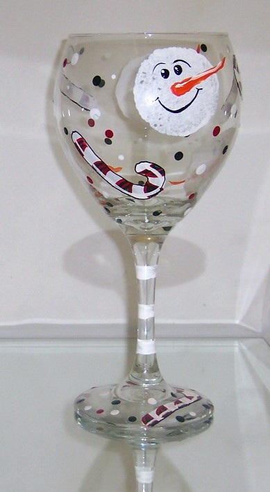 Snowmen and Candy Canes Wine Glass