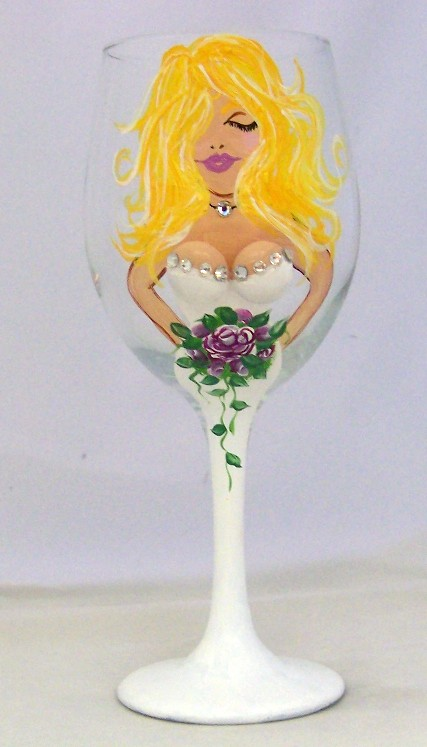 Personalized Bride 20 Ounce Wine Goblet