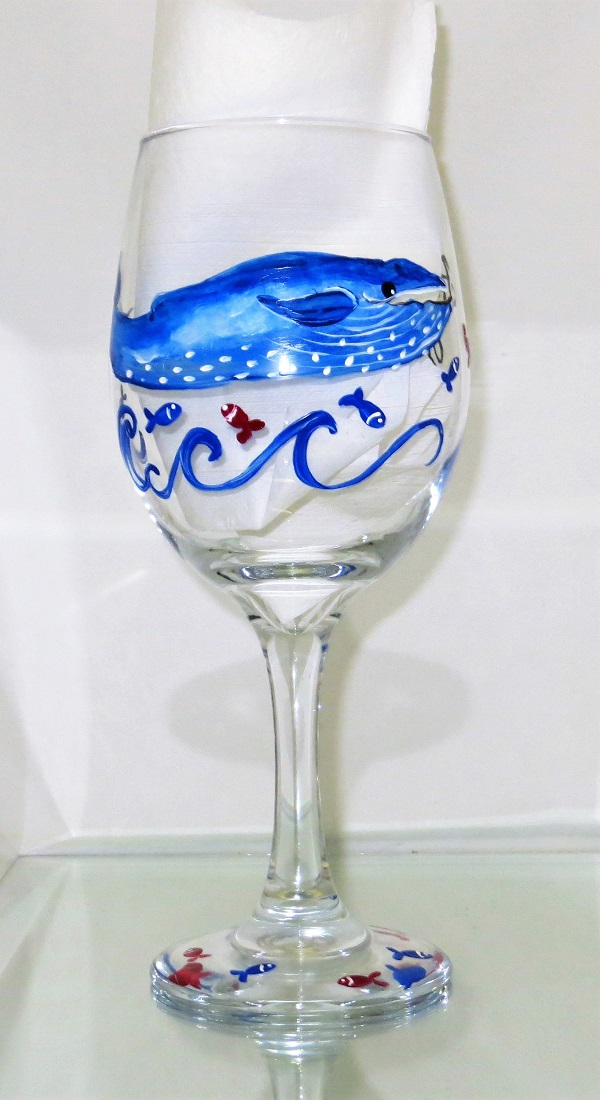 Whale of a Time Vacation Beach Wine Glass