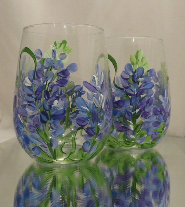 Bluebonnets on Stemless Wine Glass-FREE SHIPPING!