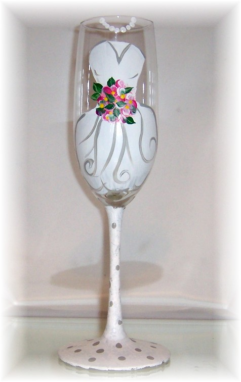 Brides Gown Wedding Toasting Glass