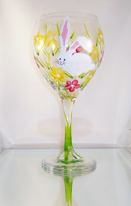 Easter Bunny on 20 Ounce Balloon Goblet-FREE SHIPPING!