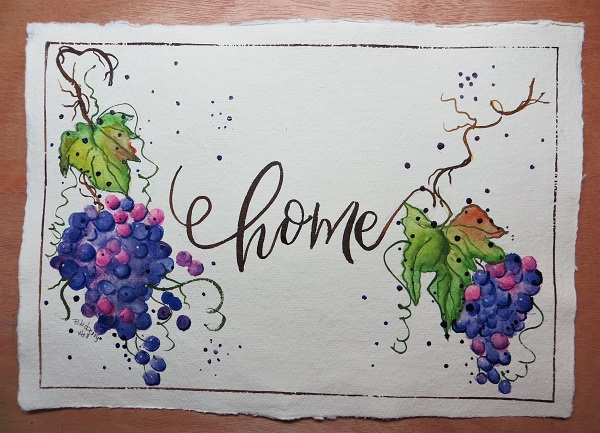 Grapes on the Vine Home Original Watercolor