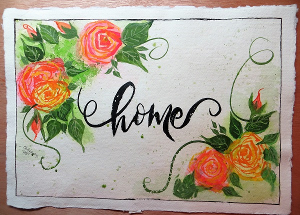 Roses Home Watercolor Original Painting