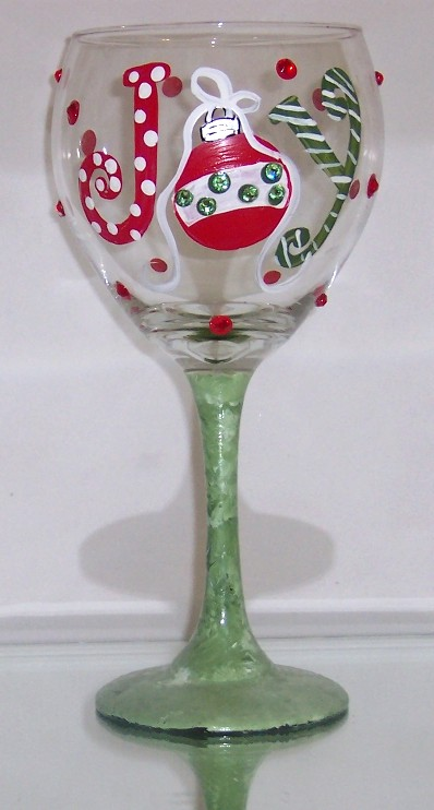 #50 JOY Holiday Christmas Wine Glass
