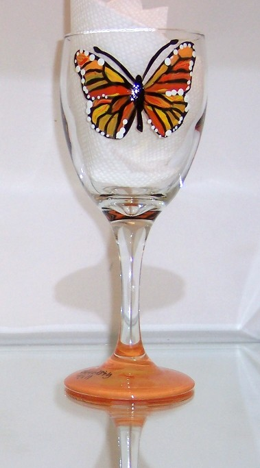 Monarch Butterfly Wine Tasting Glass