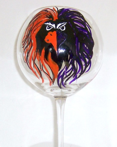 Baltimore Ravens/Baltimore Orioles Bird on 20 Ounce Balloon Wine glass