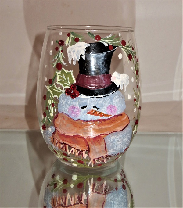 Dapper Snowman on 20 Ounce Stemless Wine Glass