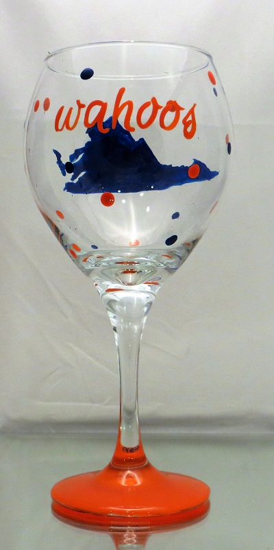 University of Virginia Cavaliers/wahoos 20 ounce wine glass