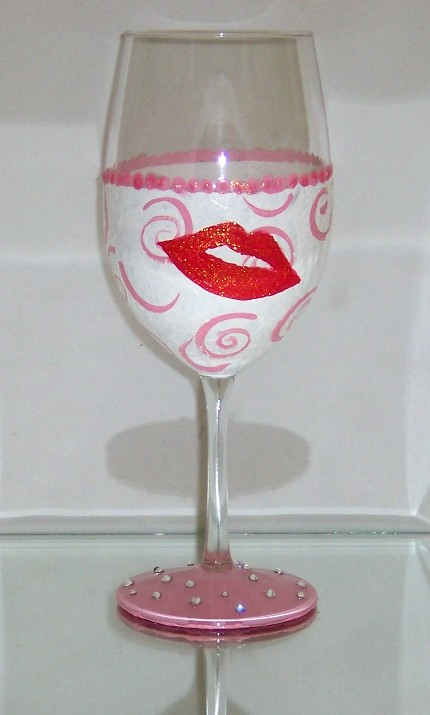 Valentines Day Kiss Wine Goblet